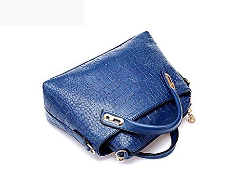 Kangrunmy Borse Borsa di Spalla del Tote Signore Borsa di Cuoio Messenger Hobo Bag Blu
