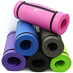 Fitem Colchoneta Ultragruesa de Espuma Cómoda Alta Densidad NBR - 183 x 60 x 1,5 cm o 1 cm - Para Gimnasia - Yoga - Deportes - Fitness - Pilates - Entrenamiento de Fuerza - Correa de Transporte Incluida