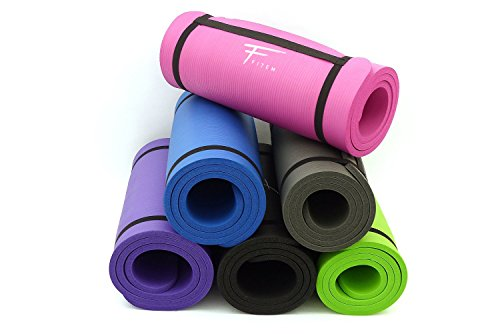 Fitem Tapis de Sol Violet Ultra-Epais en Mousse Confort Haute Densité NBR - 183 x 61 x 1,5 cm - pour Gym,Yoga, Sport, Gymnastique, Fitness, Pilates, Musculation - Sangle de Transport Incluse