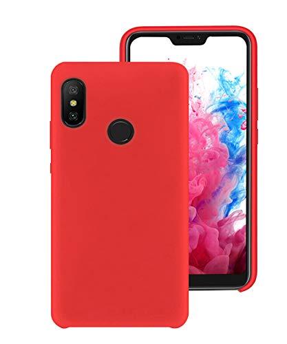 KANSI Funda Compatibles para Xiaomi Mi A2 Lite, Protector Pantalla + Funda de Goma de Silicona Líquida de Tacto Suave, Funda de Gel Fácil de Limpiar y Antigolpes - vermell