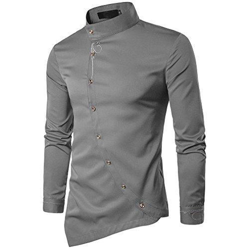 Usopu casual da uomo, colletto in piedi da giorno, camicia asimmetrica in tinta unita a maniche lunghe, grigio, xl