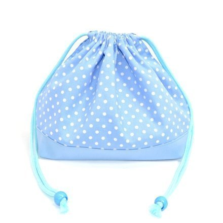 x Ox sax made in Japan N3466400 (white dots on light blue ground) drawstring Gokigen lunch (medium size) with gusset lunch bag polka dot (japan import)