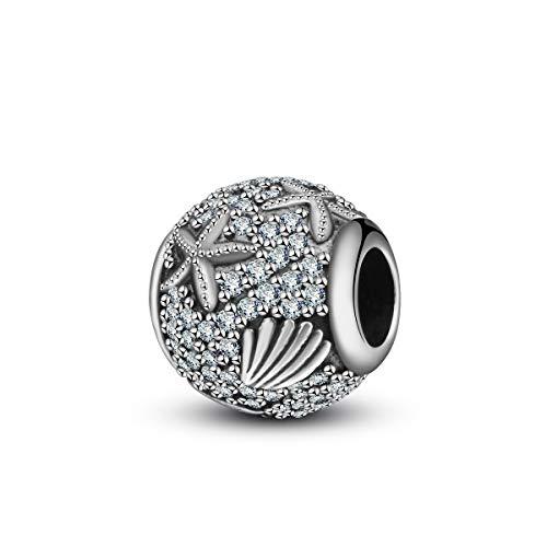 Damen 925 Sterling Silber Perlen Charms, Tropischer Seefisch Muschel Hängender Charme, Fit für Europäische Armbänder Halsketten Schmuck DIY, Geschenke für Mädchen