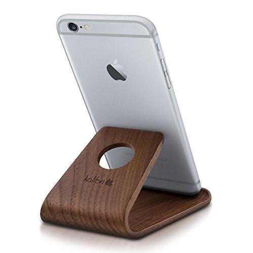 kalibri Handy Halterung Smartphone Ständer - Universal Halter kompatibel/Ersatz für iPhone Samsung iPad Tablet u.a. - Tisch Stand Dock Walnussholz - Dunkelbraun - Ersatz-baum-ständer-kabel