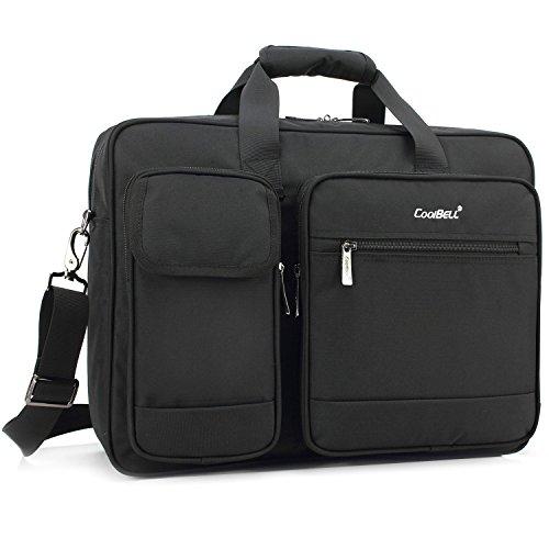 CoolBell 17.3 Inch Laptop Tasche Aktentasche Herren schützend Messenger Bag Umhängetasche Notebook Schultertasche Multifunktional Henkeltasche Laptoptasche für 17-17,3 Zoll MacBook,Schwarz