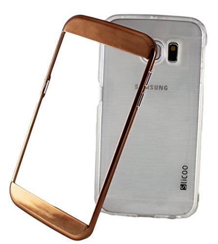 iPhone 6 Plus + Slicoo Hybrid Clear Handyhülle Schutzhülle Bumper Tasche Hard Cover Case aus Polycarbonat Rahmen und Transparent TPU Silikon in Anthrazit Dunkel Blau Silber