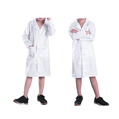 Alvivi Kinder Kostüm Unisex Jungen Mädchen Arzt Ärztin Mantel Doktor Arztkostüm Arztkittel - Laborkittel Halloween Karneval Fasching Cosplay Verkleidung Weiß 128-140