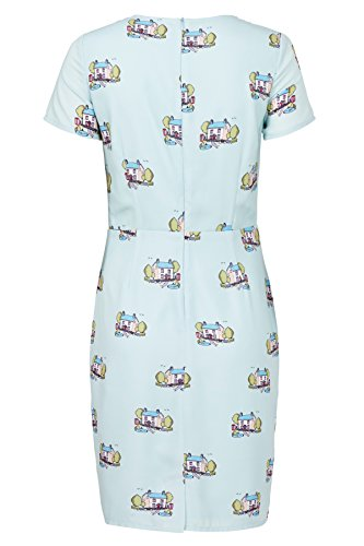 Sugarhill Boutique Robe Julie Vintage Scène Shift Vert - Aqua