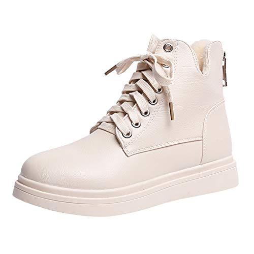 ZHANSANFM Kurz Stiefel Damen Lederstiefel mit Blockabsatz Reißverschluss Ankle Boots Lace up Freizeit Outdoor Stiefeletten Mode Bequemer Warm Trekkingstiefel Herbst Winter (38 EU, Weiß) -