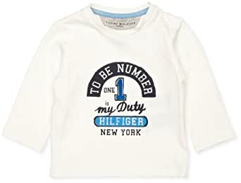 Tommy Hilfiger To Be CN Knit Long Sleeve Baby Boy's T-Shirt, Snow White/Eur, 0-3 Months
