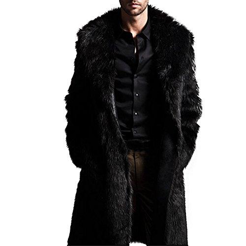 Celucke Pelzmantel Herren Lang Kunst Felljacke Wind Coat,Winterjacke Mantel Kunstpelz Jacke Faux Fur