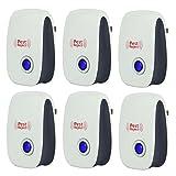 6 PC de plagas por ultrasonido del reflector del control - iParaAiluRy electrónico tapón en Repelente de plagas de insectos cucarachas, hormigas, roedores, moscas, insectos, arañas, ratones con luz de noche