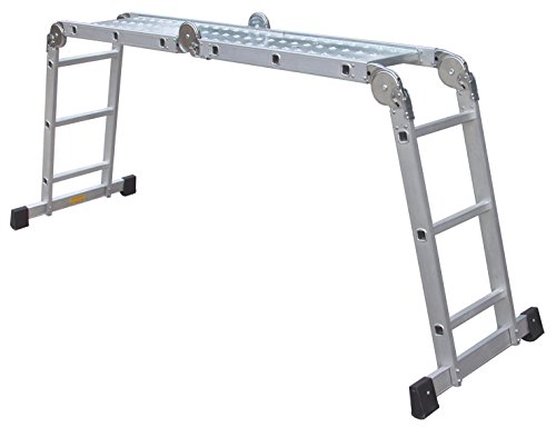 Alu-Gelenkleiter / Arbeitsleiter 4x3 Stufen / Sprossen mit Plattform 330 cm, Aluminium, Marke: Szagato (Stehleiter, Anlegeleiter, Aluleiter, Kombileiter, Leiter)