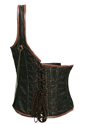 BSLINGERIE® Herren Steampunk Gothic Taille Cincher Kostüm Korsett Weste Braun