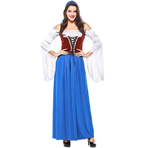 Outfit Piraten Lady Kostüm Adult - EDtara Oktoberfest Bekleidung Zubehör Frauen Oktoberfest Kostüm Kleid Adult Tavern Peasant Lady Renaissance Outfit Blau und weiß XXL