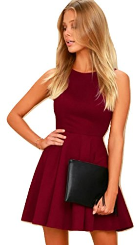 MAGNA MAROON SKATER DRESS BACKLESS DESIGN BURGUNDY WINE RED SLEEVELESS FLARED FRILL DRESS