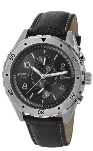 Esprit ES105551001 - Reloj analógico de cuarzo para hombre con correa de piel, color negro