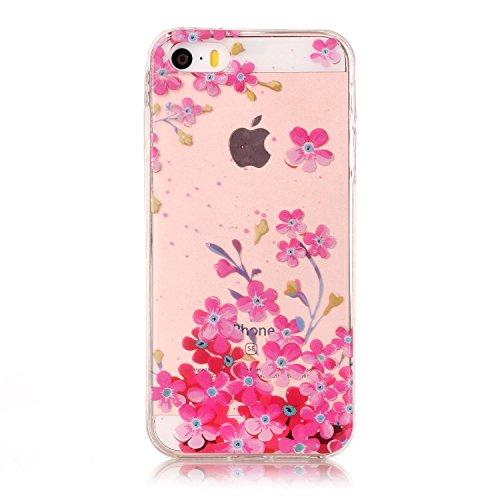 Linvei iPhone 5 Hülle,iPhone 5s Tasche,iPhone SE Case Cover,TPU Silikon Handyhülle und Bunte Muster Schutzhüllen für iphone 5/ 5s/ SE-Schmetterlinge und Blumen rote Blumen