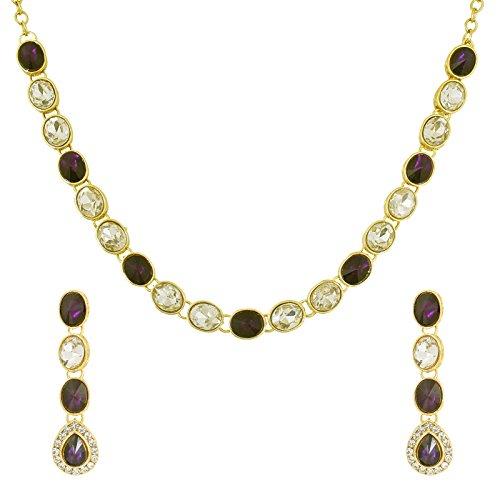 fasherati Sleek lila und weiß Kundan Verlobungsring Halskette Sets für Frauen