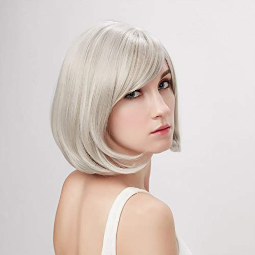 Mittelalterliche und alte Frauen Short Straight Hair Silver-White Bob Short Hair Oblique Bangs Chemical Fiber Wig Set Daily Use,Gray -