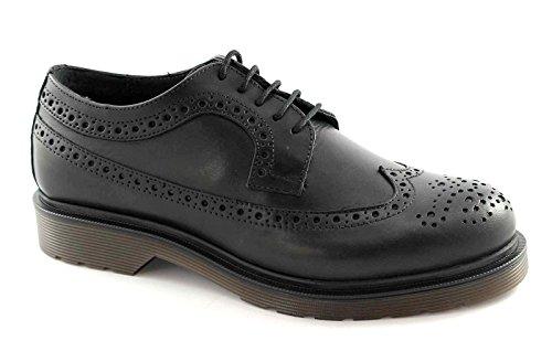 CAFè NOIR QC106 nero scarpe uomo derby inglese pelle lacci 43