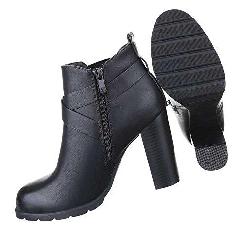 Damen Boots Stiefeletten Schuhe Stretch Braun Schwarz 36 37 38 39 40 41 Schwarz