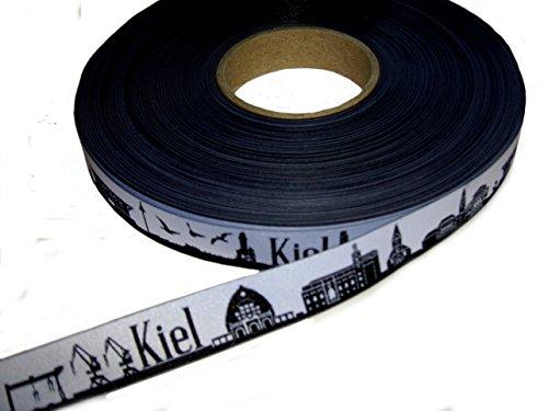 5m Webband Meine Heimat Skyline (Motiv: Kiel, Farbe: schwarz-weiß) ca. 16mm breit
