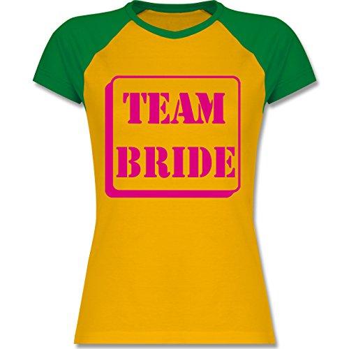 JGA Junggesellinnenabschied - Team Bride - zweifarbiges Baseballshirt / Raglan T-Shirt für Damen Gelb/Grün
