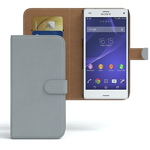 Sony Xperia Z3 Compact Hülle - EAZY CASE Premium Flip Case Handyhülle - Schutzhülle aus Leder in Braun Hellgrau (Book)