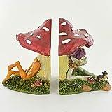 Prezentscom Pixie Buchstützen durch den Pilz, Fantasie-Skulpturen für Feengärten, Elfen, Magie und Kinderdekoration