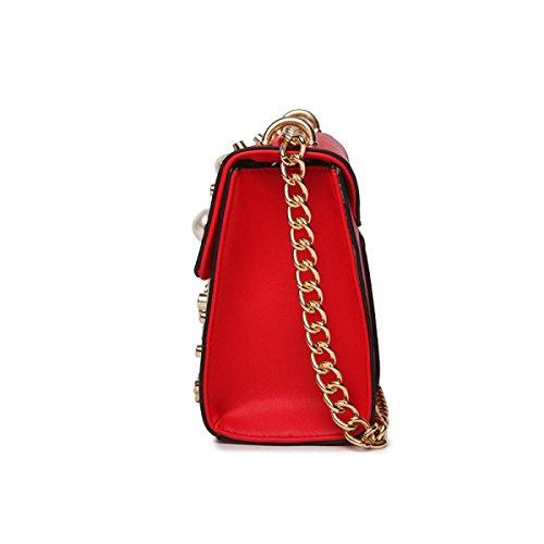 Perle Art Und Weise Wilde Kleine Quadratische Paketmini-Schulterkettenkreuz-weibliche Beutel Black