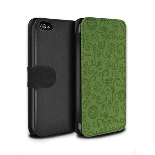 Stuff4 Coque/Etui/Housse Cuir PU Case/Cover pour Apple iPhone 4/4S / Fleur jaune Design / Motif Remous floral Collection Fleur verte