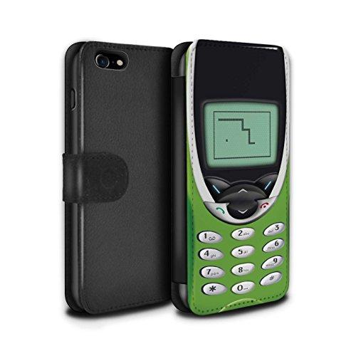 Stuff4 Coque/Etui/Housse Cuir PU Case/Cover pour Apple iPhone 7 / Nokia 3310 noir Design / Portables rétro Collection Nokia 8210 chaux