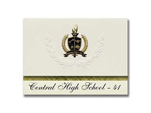 Signature Ankündigungen Central High School - 41 (Rapid City, SD) Graduation Ankündigungen, Presidential Stil, Elite Paket 25 Stück mit Gold & Schwarz Metallic Folie Dichtung