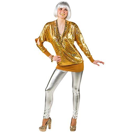 Unbekannt Damen Kostüm 90er Wickelshirt Retro 80er Mottoparty Fasching Karneval (46/48, Gold) (Damen Retro-kostüme Für)