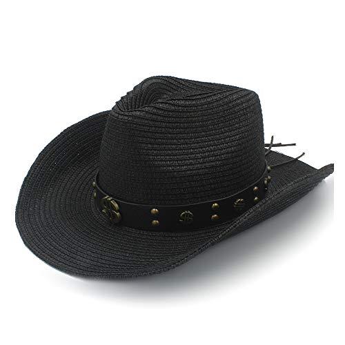 XXY Kappe Sonnenhut Raffia Hut Damen Sonnencreme Herren Leder mit Metall-Dollar-Muster dekorative Niet Strohhut Cowboy-Hut beiläufig (Farbe : Schwarz, Größe : 58 cm) (Raffia Cowboy-hüte Für Männer)