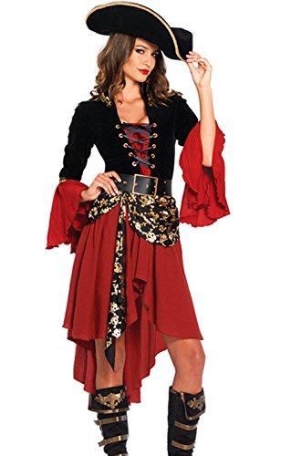CMFashion Piratenkleid Damen Rot Schwarz Piraten Kostüm mit Piratenhut Gr. S