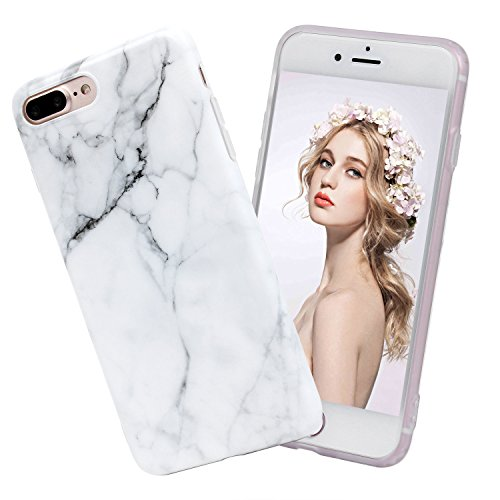 iPhone 8 Plus Marble Case, iPhone 7 Plus Marble Case, Imikoko Matt Soft Silicone Phone Case Stone Marble Painting Slim TPU Bumper Phone Case Flexible Protective Back Back Marble Lines Soft Back Cover  Muster 14
