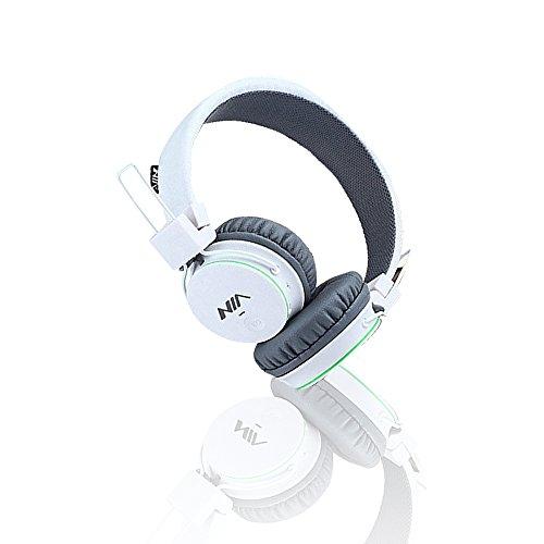Bluetooth Kopfhörer, Freisprech Kopfhörer für Iphone, Ipad, Samsung, Sony, HTC, Huawei, Smartphones, Tabletten, Mikro SDHC / TF Karte und MP3 / MP4 (Weiß)