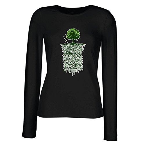 Weibliche Langen Ärmeln T-Shirt Kennen Sie Ihre Wurzeln - inspirierende Familie Liebe Zitate (Medium Schwarz Mehrfarben)