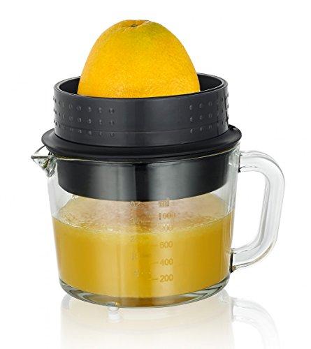 Melissa 16230039 Zitrus-Presse mit Glas-Kanne 1 Liter, elektrisch, 2 Saft-Presskegel