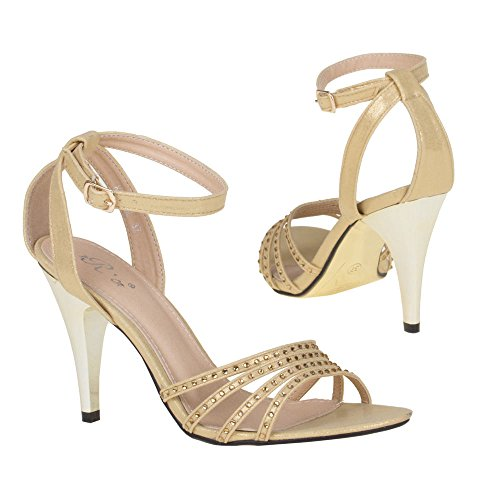Damen Schuhe, 9422-GL, SANDALETTEN Gold