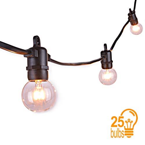 Sunix® 7,62m Globe Schnur Lichter, E14 Globe String Licht mit 25 G40 Lampen, Innen- und Außen Deko Glühbirne warmweiß für Weihnachten, Hochzeit, Party, Garten, Haus, Innen, Außen -