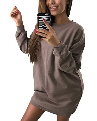 Minetom Damen Langarm Sweatshirt Herbst Winter Lange Pullover Einfarbig Pulli Sexy Oversize Tunika Mini Kleid Casual Lose Rundhals Tops Braun DE 38