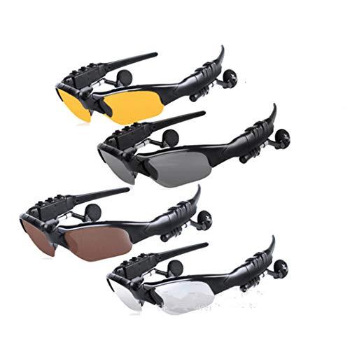JAY-LONG Bluetooth 4.1 Sport-Sonnenbrillen, Augenschutz, blendfreie, polarisierte Sonnenbrillen, Winddichte Brillen für den Außenbereich, Bluetooth-Anrufe, USB-Aufladung,Clear