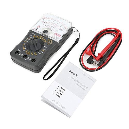 Mini multímetro analógico de mano Voltímetro de CA/CC Amperímetro Resistencia Continuidad Capacitancia Fusible y probador de diodos - Gris