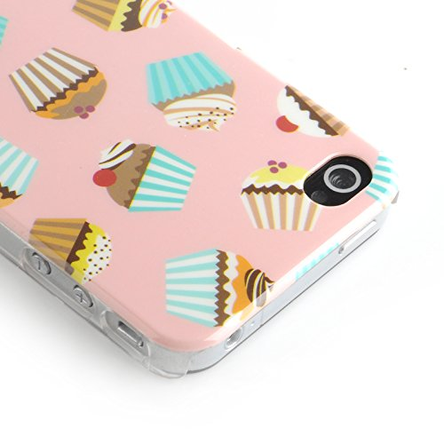 JAMMYLIZARD | Coque iPhone 4s - Coque iPhone 4 back cover ridige original papillons fleurs argenté, Blanc & argent Cupcakes - PEANUT BUTTER