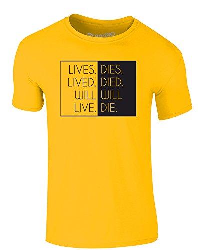 Brand88 - Will Live, Will Die, Erwachsene Gedrucktes T-Shirt Gänseblümchen-Gelb/Schwarz