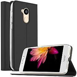 Huawei Honor 6A Cover - KuGi Slim Flip Cover Custodia per Huawei Honor 6A Smartphone (Flip Series - Nero)