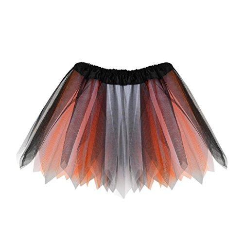 ge Elastisch Puffy TüLl TüTü RöCke Petticoat Ballett Blase Ballkleid Mehrfarbengroß UnterröCke Rainbow Bustle Skirt (Orange) ()